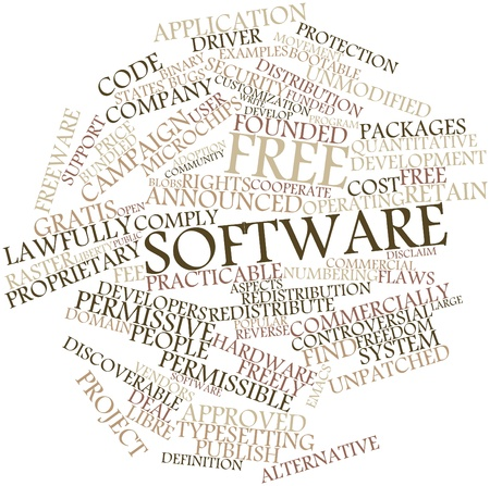 permissible: Abstract word cloud for Free software with related tags and terms Stock Photo