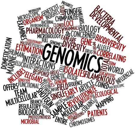 alleles: Abstract word cloud for Genomics with related tags and terms Stock Photo