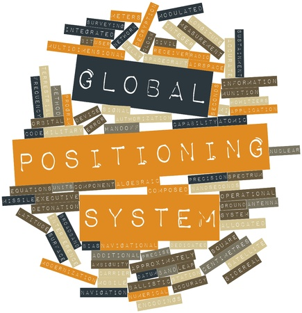 munition: Abstract word cloud for Global Positioning System with related tags and terms Stock Photo