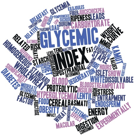 Abstract word cloud for Glycemic index with related tags and terms Stock Photo