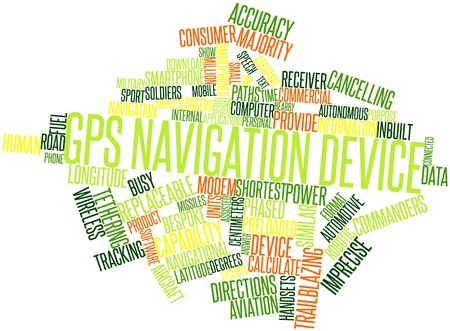 gps device: Abstract word cloud for GPS navigation device with related tags and terms Stock Photo