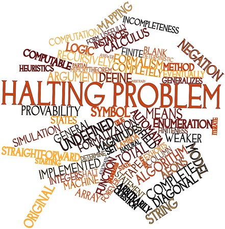 heuristics: Abstract word cloud for Halting problem with related tags and terms