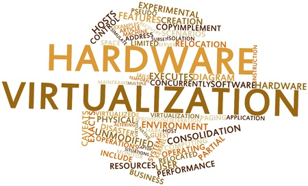virtualization: Abstract word cloud for Hardware virtualization with related tags and terms Stock Photo