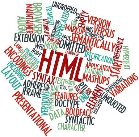 Abstract word cloud for HTML with related tags and terms Stock Photo - 16084289