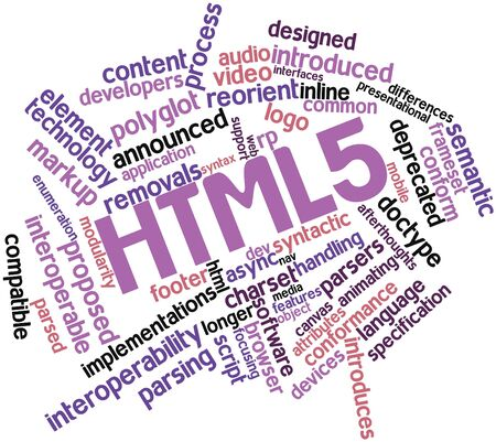 criticised: Abstract word cloud for HTML5 with related tags and terms