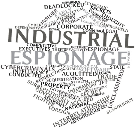 alleged: Abstract word cloud for Industrial espionage with related tags and terms