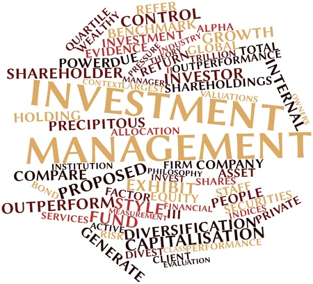 proposed: Abstract word cloud for Investment management with related tags and terms Stock Photo