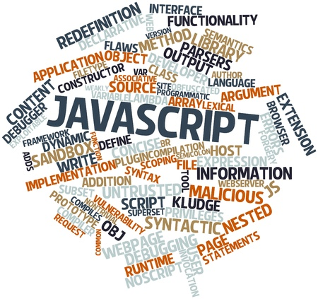 Abstract word cloud for JavaScript with related tags and terms Stock Photo