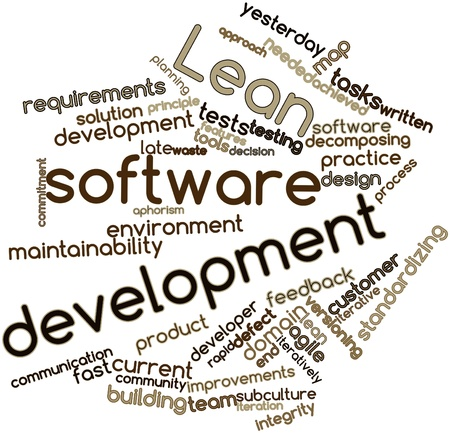 delivered: Abstract word cloud for Lean software development with related tags and terms Stock Photo