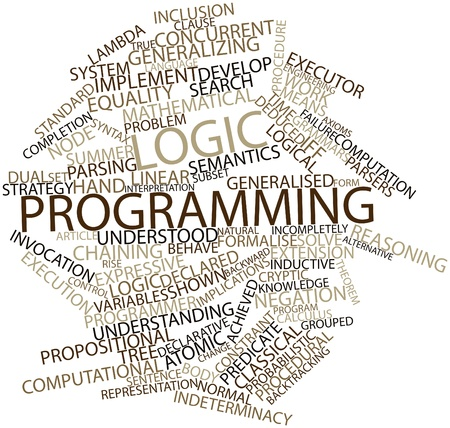 inductive: Abstract word cloud for Logic programming with related tags and terms Stock Photo