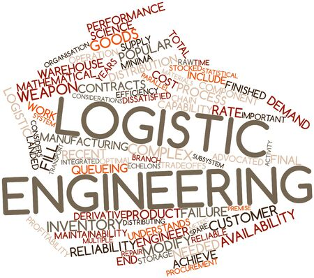 premise: Abstract word cloud for Logistic engineering with related tags and terms