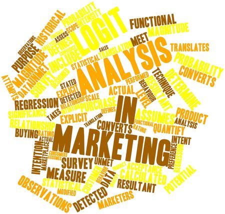 translates: Abstract word cloud for Logit analysis in marketing with related tags and terms Stock Photo