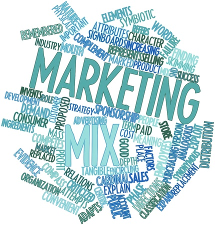synoniem: Abstract woordwolk voor Marketing mix met gerelateerde tags en voorwaarden