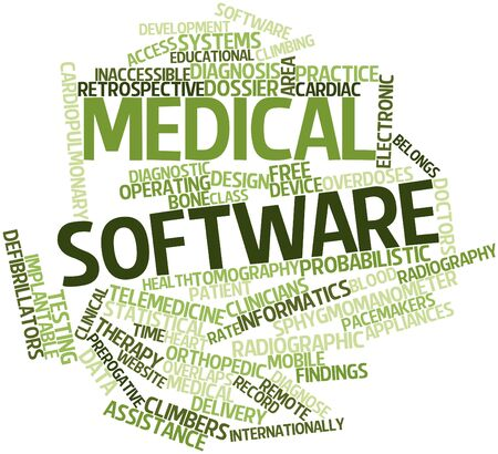 Abstract word cloud for Medical software with related tags and terms photo