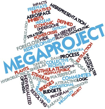 categories: Abstract word cloud for Megaproject with related tags and terms Stock Photo