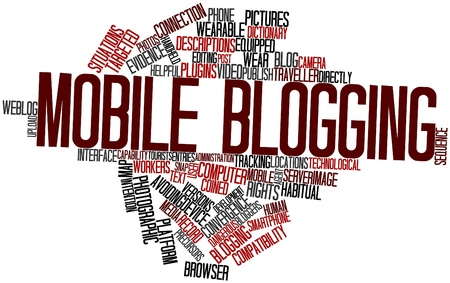 coined: Abstract word cloud for Mobile blogging with related tags and terms Stock Photo