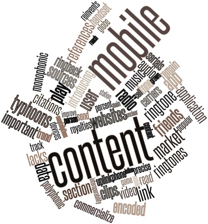 Abstract word cloud for Mobile content with related tags and terms Stock Photo - 16084298