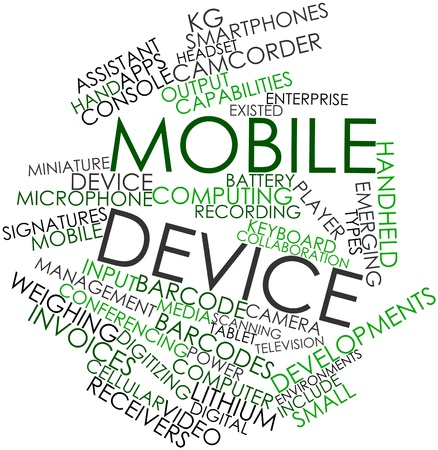 Abstract word cloud for Mobile device with related tags and terms Stock Photo - 16084104