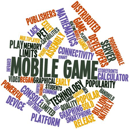displace: Abstract word cloud for Mobile game with related tags and terms