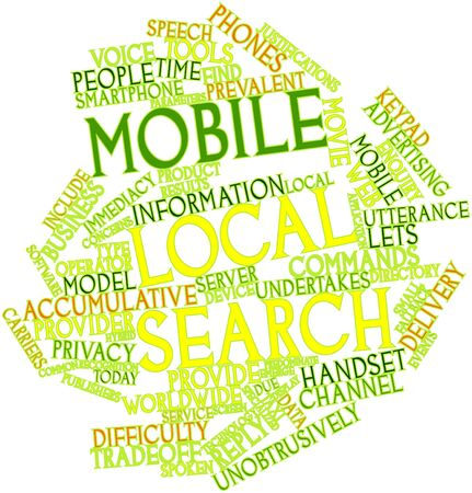 eingeschifft: Abstraktes Wort cloud for Mobile lokale Suche mit verwandten Tags und Begriffe Lizenzfreie Bilder