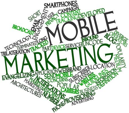 diaporama: Nuage de mot abstrait pour le marketing mobile avec des �tiquettes et des termes connexes Banque d'images