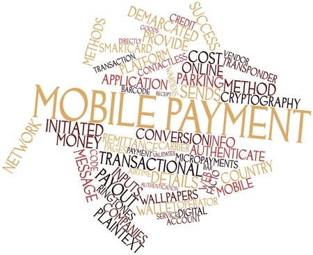 remittance: Abstract word cloud for Mobile payment with related tags and terms