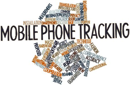 compel: Abstract word cloud for Mobile phone tracking with related tags and terms Stock Photo