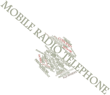 encouraged: Abstract word cloud for Mobile radio telephone with related tags and terms Stock Photo