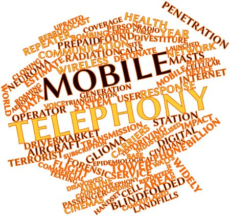 roaming: Abstract word cloud for Mobile telephony with related tags and terms