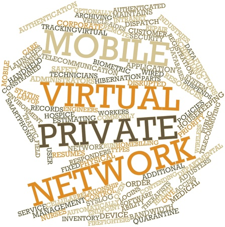 Abstract word cloud for Mobile virtual private network with related tags and terms photo