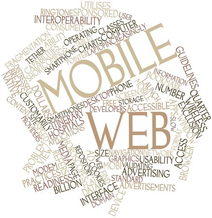 Abstract word cloud for Mobile Web with related tags and terms Stock Photo - 16084237