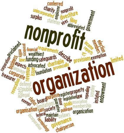 asociacion: Nube palabra abstracta para la organización sin fines de lucro con las etiquetas y términos relacionados