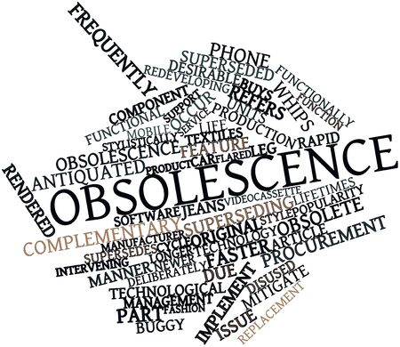 Abstract word cloud for Obsolescence with related tags and terms Stock Photo - 16084183