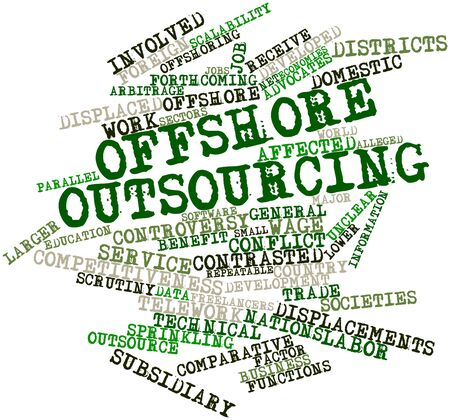 sprinkling: Abstract word cloud for Offshore outsourcing with related tags and terms Stock Photo