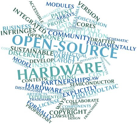 Abstract word cloud for Open-source hardware with related tags and terms