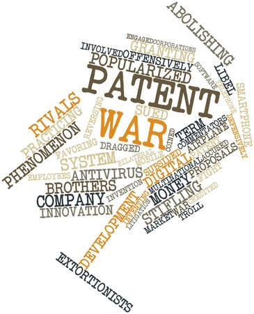 coined: Abstract word cloud for Patent war with related tags and terms