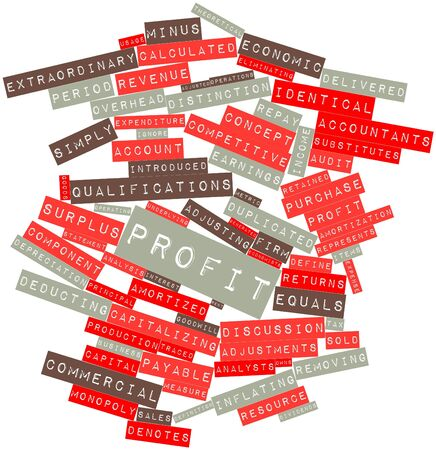 adjusted: Abstract word cloud for Profit with related tags and terms Stock Photo