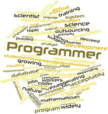 Abstract word cloud for Programmer with related tags and terms Stock Photo - 16084092