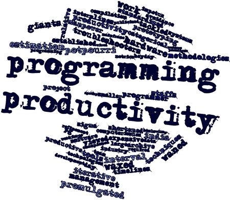 promulgated: Abstract word cloud for Programming productivity with related tags and terms Stock Photo