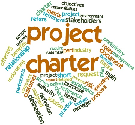 constraints: Abstract word cloud for Project charter with related tags and terms Stock Photo