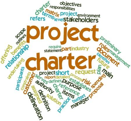 Nuage de mots abstraits pour la charte de projet avec des étiquettes et des termes connexes