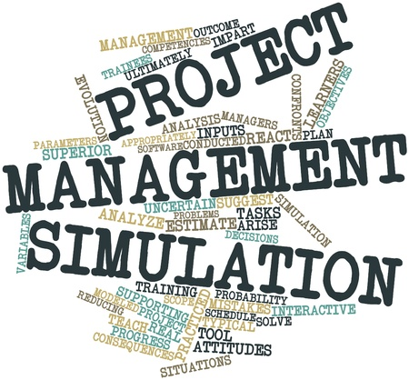 appropriately: Abstract word cloud for Project management simulation with related tags and terms Stock Photo