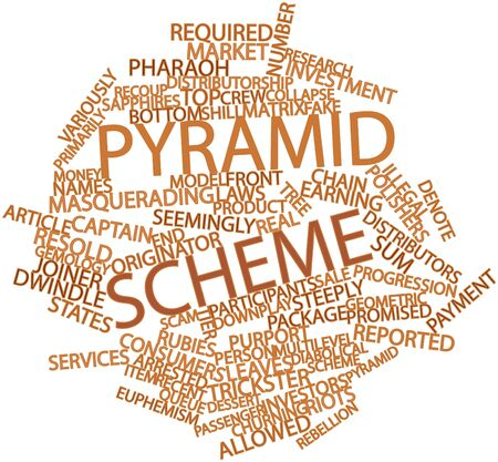 overt: Abstract word cloud for Pyramid scheme with related tags and terms Stock Photo