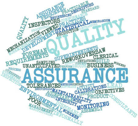 inspecting: Abstract word cloud for Quality assurance with related tags and terms Stock Photo