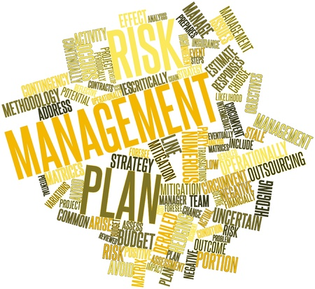 define: Abstract word cloud for Risk management plan with related tags and terms Stock Photo