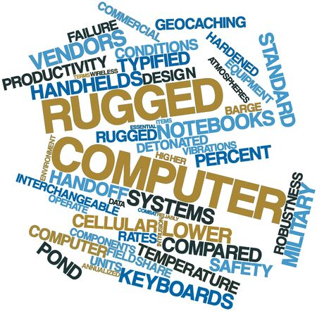 hardened: Abstract word cloud for Rugged computer with related tags and terms Stock Photo
