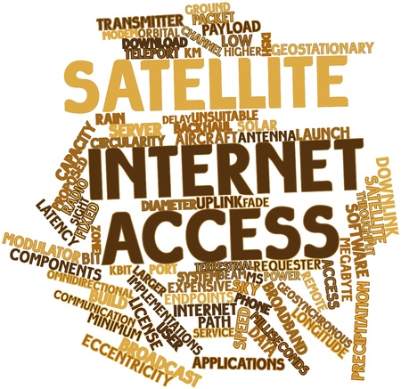 squawk: Abstract word cloud for Satellite Internet access with related tags and terms Stock Photo
