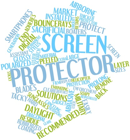 protector: Abstract word cloud for Screen protector with related tags and terms