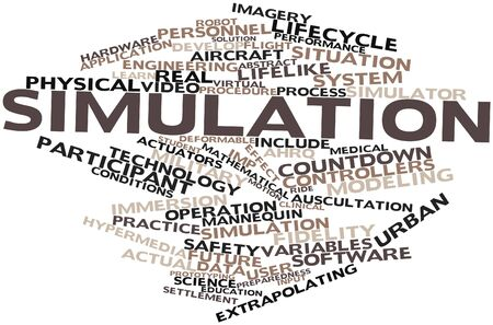 liquidity: Abstract word cloud for Simulation with related tags and terms Stock Photo