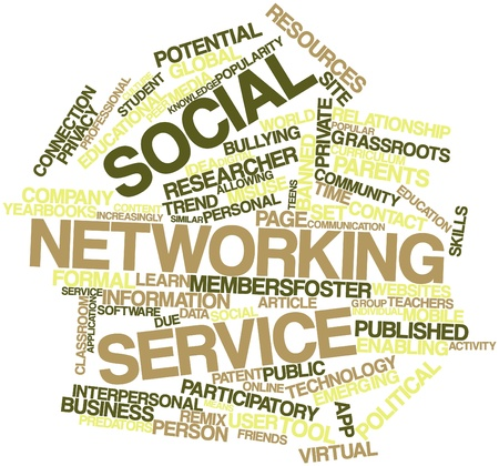 participatory: Abstract word cloud for Social networking service with related tags and terms